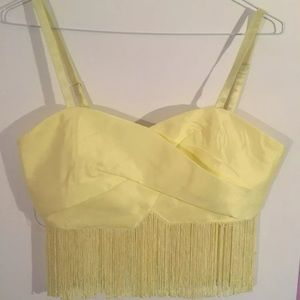 MUSTARD SEED Yellow Crop Top Fringe Bralette